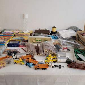 Lot #210 - Vintage Revell, Kibri and Con-Cor Kits, Decals, Cars, Railroad Cars, Caps, Logs, Accessories