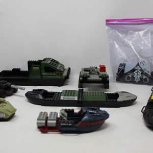 Lot #213 -  G.I. Joe Lego Ships & Vehicles Including BTR 0-51 & BTR 0-55-03 and Miscellaneous Pieces