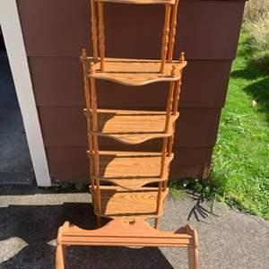 Lot #217 -  Decorative Wood Shelving Unit with 5 shelves & Wood Wall Hanging Coat Rack