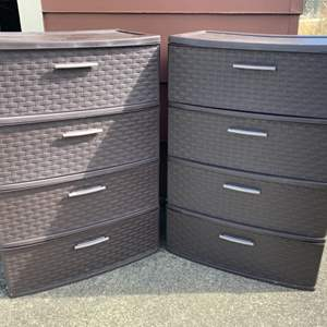 Lot #218 -  Set of Two Sterlite Plastic Drawer Units with Four Drawers Each