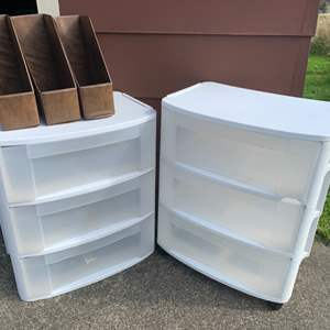 Lot #220 -  Group of Three Magazine Holders & Two Plastic Drawer Sets with 3 Drawers Each