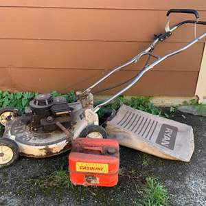 Lot #229 -  Brigg's & Stratton Ryan 20 Inch Lawn Mower and Gas Can