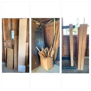 Lot #231 -  Variety of Wood Pieces, Wood Legs with Wheels, Shelves, and More