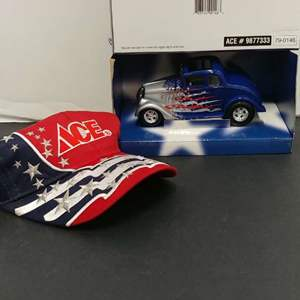 Lot# 12 - 2 item set First Gear # 79-0146 1933 Willys Coupe * ACE * Coin Bank* Ace Hat*