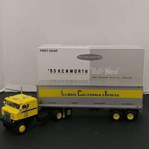"""Lot# 15 - First Gear # 19-1748 1953 Kenworth """"Bull-Nose"""" Coe Tractor w/ 35' Trailer * ICX * 1:34"""