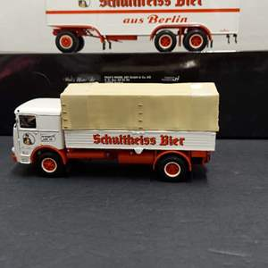 Lot# 23 - Paul's Model Art Minichamps Schultheiss Bier Truck and Trailer  1:43 Scale