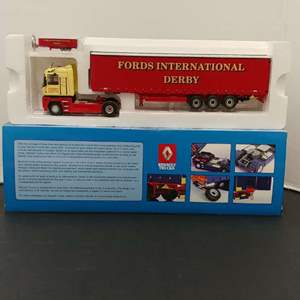 Lot# 28 - Universal Hobbies Set # 5638 Tractor Trailer * Fords International Derby * 1:50 * Matching Key Chain