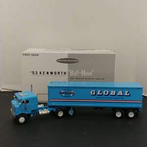 """Lot# 30 - First Gear # 19-1810 '53 """"Bull-Nose"""" Coe Tractor w/35'  Trailer * Global Van Lines * 1:34"""
