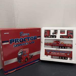 Lot# 58 - Corgi CC99169 Proctor Set Scania Topline Sided Crane Trailer DAF XF Curtainside and Moffett-Kooi M5 20.3 * 1:50