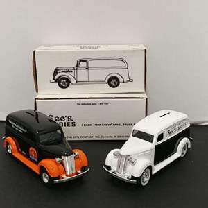 Lot# 79 - 2 Qty. Die Cast Banks 1938 Panel Truck * Miller's Custom Parts * 1:25 * '38 Chevy Panel Truck * See's Candies * 1:25