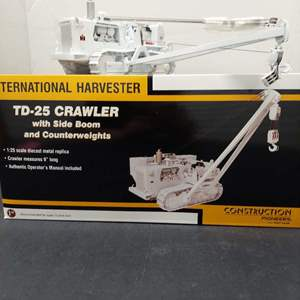 Lot# 99 - First Gear  49-0153 International  Harvester  TD-25 Crawler with Side Boom and Counterweights 1:25 Scale