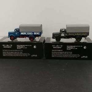 Lot# 102 - 2 Qty. Minichamps  Mercedes-Benz L 3500 Canvas Trucks # 439350021 * 1:43 * #439350022 * 1:43