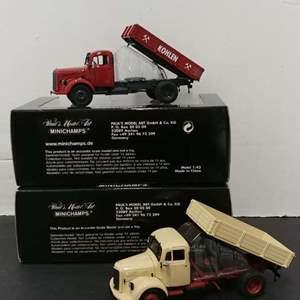 Lot# 104 - 2 Qty. Minichamps Mercedes Benz tipper Trucks