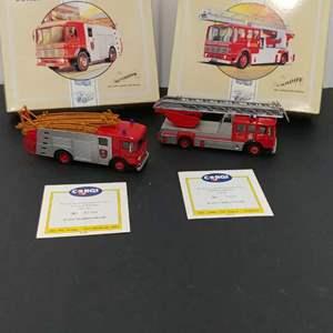 Lot# 134 - 2 Qty. Corgi # 97355 AEC Fire Pumper Truck * Nottingham City * # 97385  AEC Ladder Fire Engine * Cardiff