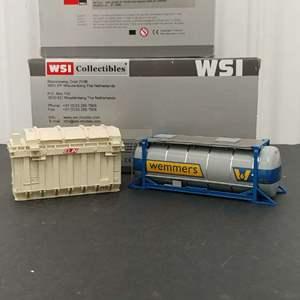 Lot# 140 - 2 Qty. WSI # 01-1499 Gisk UK DAF XF 105 SSC 6x2 + Reefer Trailer Carrier 1:50 Scale * 12-1020 Elin Transformator 1:50