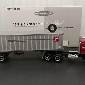 Lot# 142 - First Gear # 19-0007 '53 Kenworth Bull Nose Coe Tractor w/ 35' Trailer * First Gear INC.* 1:34