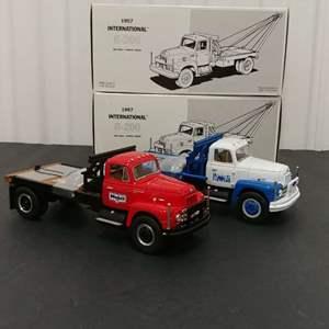 Lot# 144 - 2 Qty. First Gear '57 International R-200 Gin Pole/ Winch Truck # 19-2021 Blue Diamond # 19-1968 Mobil Beaumont  1:34