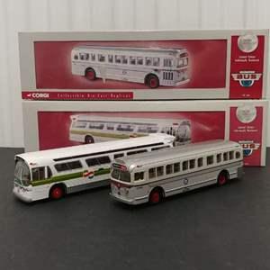 Lot# 160 - 2 Qty. Corgi Limited Edition # 54306 GM Fishbowl Bus * Glolden Gate Transit * #54203 GM 4515 Bus * Public Service PA