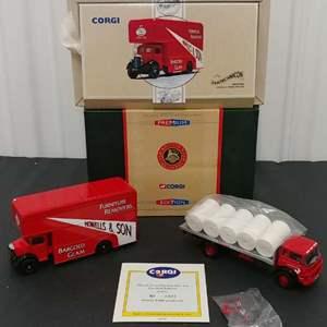 Lot# 168 - 2 Qty. Corgi # cc11405 Bedford KM 4 Wheel Platform * Premium Edition * #97195 Bedford * Howell's Pantechnicon Limited