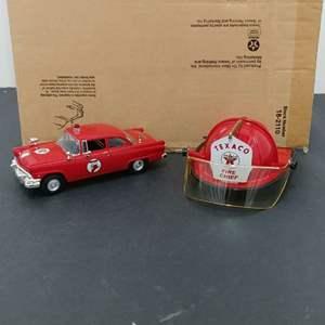 Lot# 170 - First Gear #18-2110 2 Piece Set * Ford Fire Chief Car * Fire Chief Helmet Bank * Texaco