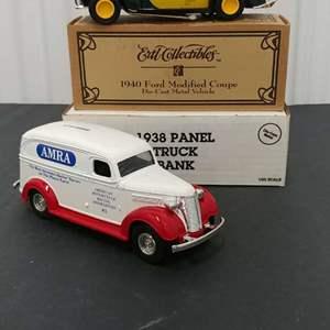 Lot# 175 - 2 Qty. Ertl Banks #B045 '38 Panel Truck * AMRA * 1:25 * '40 Ford Modified Coupe * Hemmings Motor News * 1:25