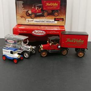Lot# 178 - 2 Qty. Ertl Banks #19911p '13 Model T * True Value Set * 1:43 * 1:25* #19127 '18 Ford Tractor Trailer Limited Edition