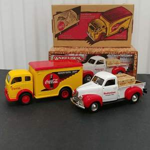 Lot# 207 - 2 Qty. Ertl Banks #27022 '49 White Delivery Truck*Coca Cola* 1:33* #H856 '47 Studebaker Pickup*Budweiser