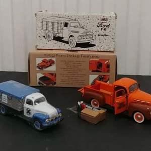Lot # 213- 2 Qty. Crown Premiums & First Gear # 2402565 '52 Ford Pickup Bank *1:24 * '51 F-6 Grain Box 1:34