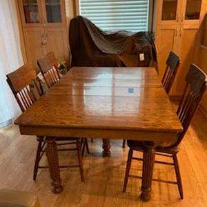 Lot#179 - Antique Dining Table with 4 Chairs * Purchased at an Antique Store for $1100.00