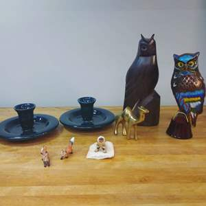 Lot #EL36 - Owls, Hall Candleholders, Fox's more...