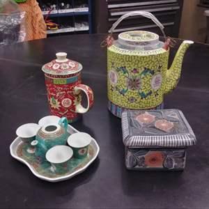 Lot #EL39 - Porcelain Asian Teapots