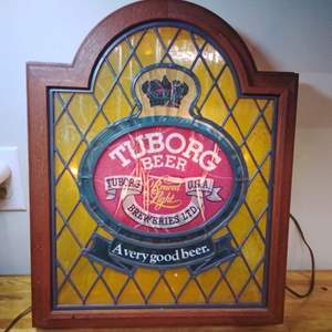Lot #EL50 - Vintage Working Tuborg Beer Lighted Sign