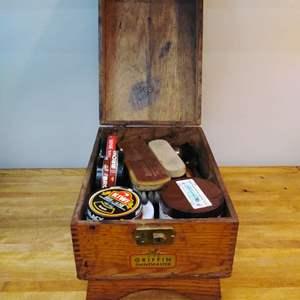 Lot #EL57 - Antique Griffin Shoe Shine Box with Contents