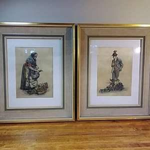 Lot #EL61 - Vintage Framed Two Pictures Elderly Couple