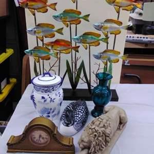 Lot #EL88 - Great Lot of Mixed Items.  Metal FISH Sculpture, Wood Duck, Lion Figure, more