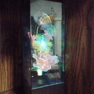 Lot #PM109 - Working Fiber Optic Encased Floral Lamp