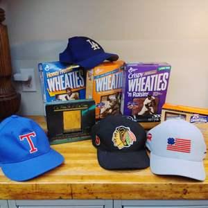 Lot #EL133 - Vintage Baseball Bats, Caps, & Wheaties Jackie Robinson