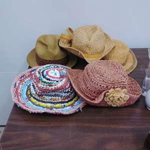 Lot #EL144 - Lot of Sun Hats Including a Vintage Dobbs