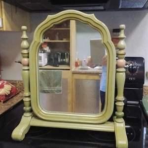 Lot #PM190 - Vintage Dresser Top Wood Framed Mirror