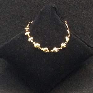 """Lot 3- Vintage Gold over 925 Sterling Silver 7"""" Puff Heart Bracelet"""