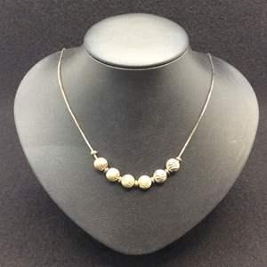 "Lot 4- Vintage Sterling Silver Beads on Vintage 16"" Necklace"