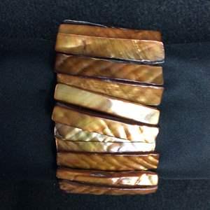 Lot 18- Vintage Mother of Pearl dyed Golden Brown 42mm wide Bracelet