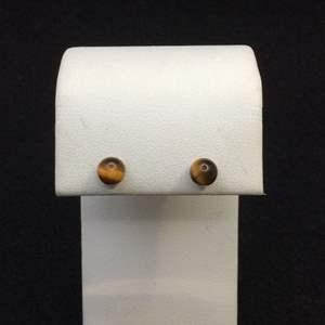 Lot 25- Vintage 14K GF Tiger Eye 5 mm Earrings