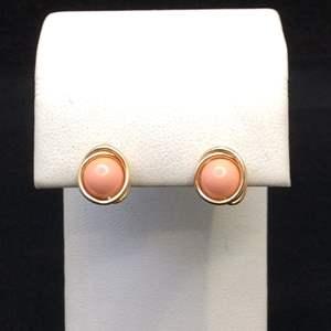 Lot 26- Vintage 6 mm Coral Bead set in 14K GF Pierce Post Earrings