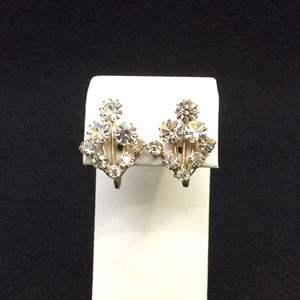 Lot 29- Vintage Austrian Crystal Screw on 22 x 18 mm Earrings