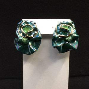 Lot 35 - 1993 Hand Made Earrings, Irridescent, Lightweight, 24Kt Gold Painted, Signed 93 KM.
