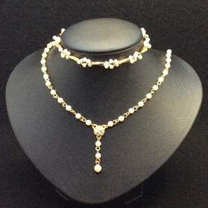 """Lot 36- Yellow Link and White Bead Necklace and Bracelet, Adjustable Length Necklace 16-19"""""""