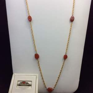 """Lot 37- Vintage Carnelian Sterling Silver Ring and Opera Length Necklace, ~36"""""""