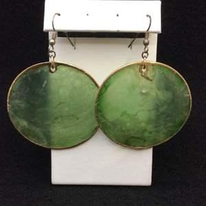 Lot 39 - Vintage 53mm Gold laced Hoop Green Earrings, semi-sheer, irridescent.