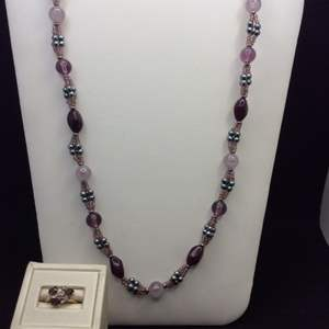 """Lot 45 - Vintage Jewelry, Appears to be Amethyst Ring size 7 and @ 28"""" Beaded Purples Necklace"""